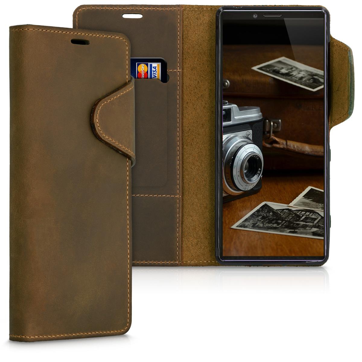 Kalibri Δερμάτινη Suede Θήκη - Πορτοφόλι Sony Xperia 1 - Brown (49414.05)