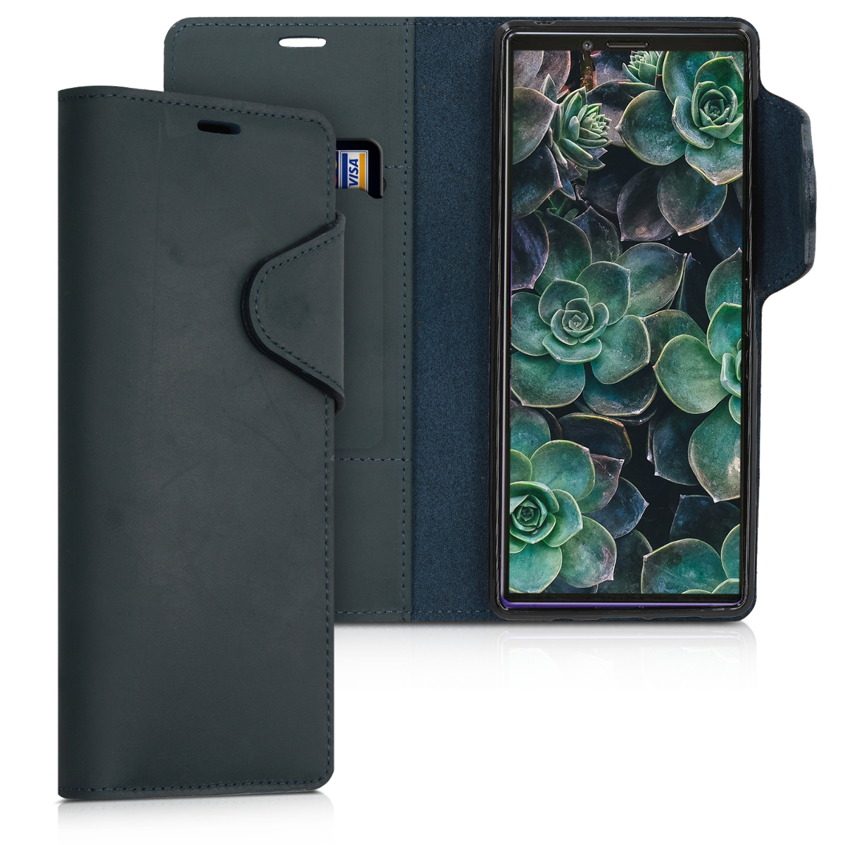 Kalibri Δερμάτινη Suede Θήκη - Πορτοφόλι Sony Xperia 1 - Dark Blue (49414.17)