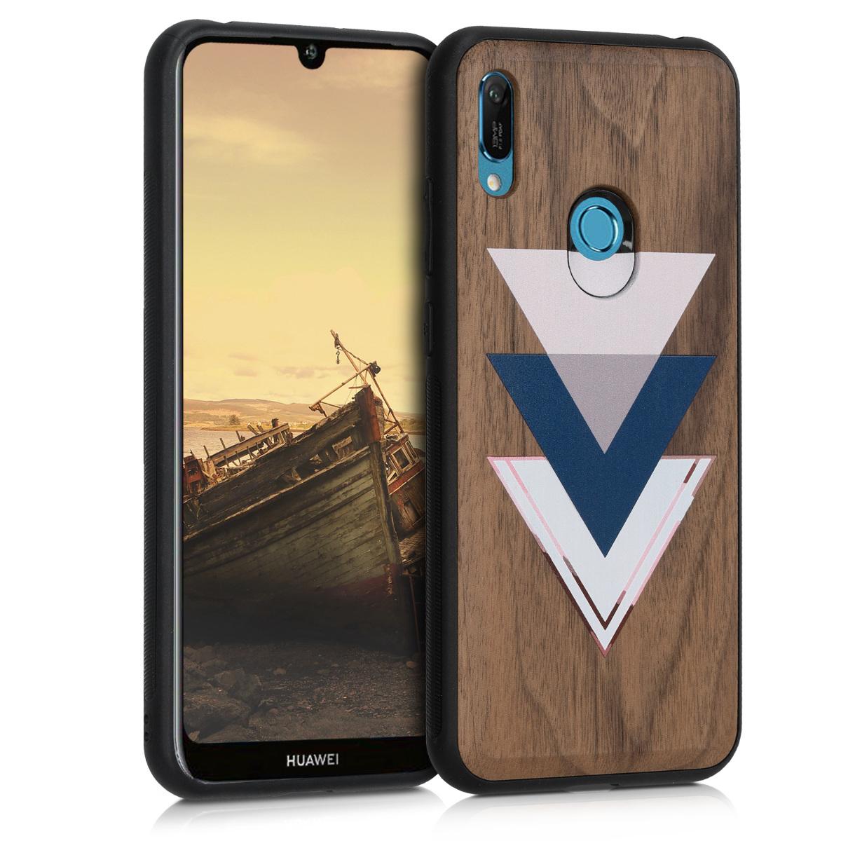 KW Σκληρή Ξύλινη Θήκη Huawei Y6 (2019) - Wood and Triangles (49481.04)
