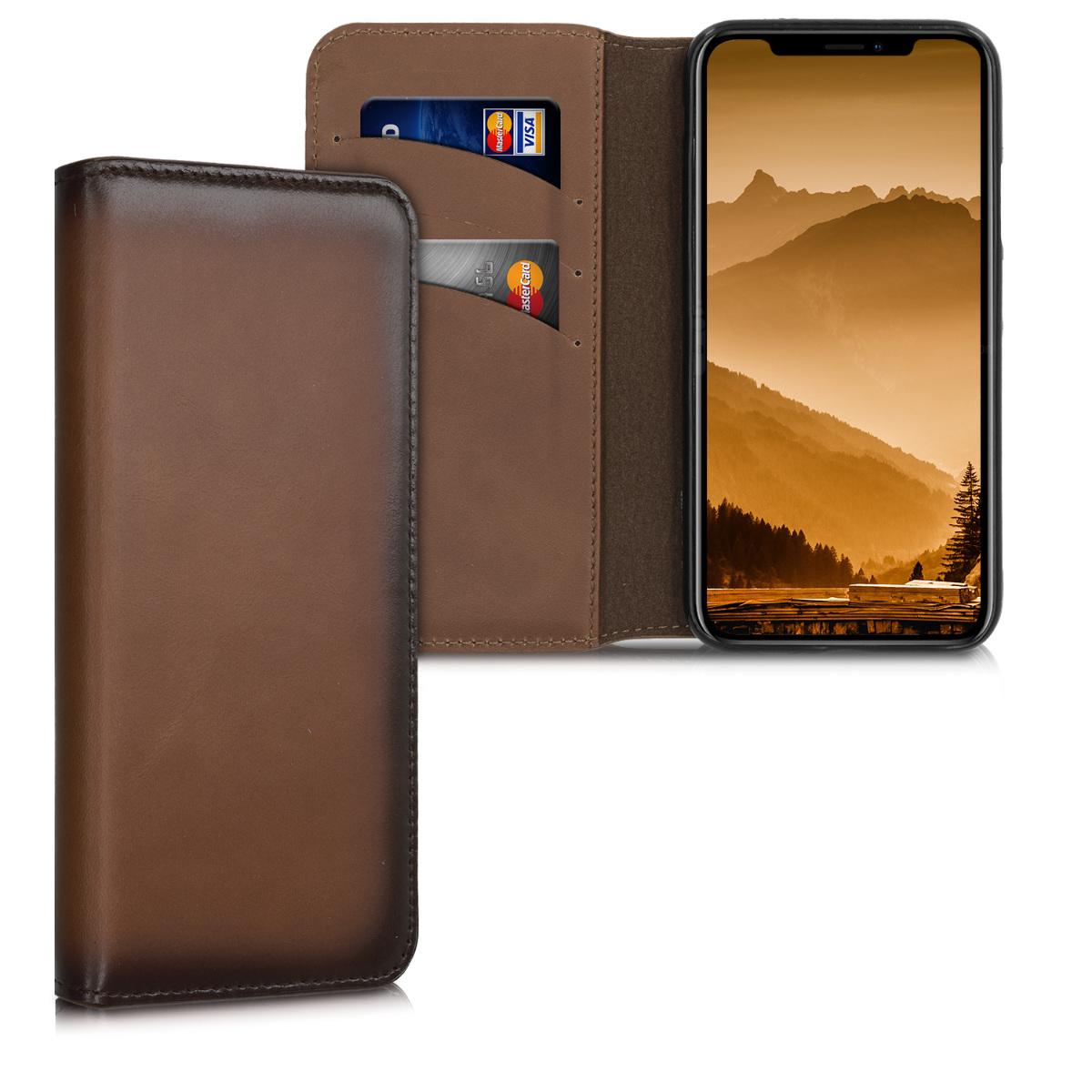 Kalibri Δερμάτινη Θήκη - Πορτοφόλι Apple iPhone XS - Vintage Brown (49516.133)