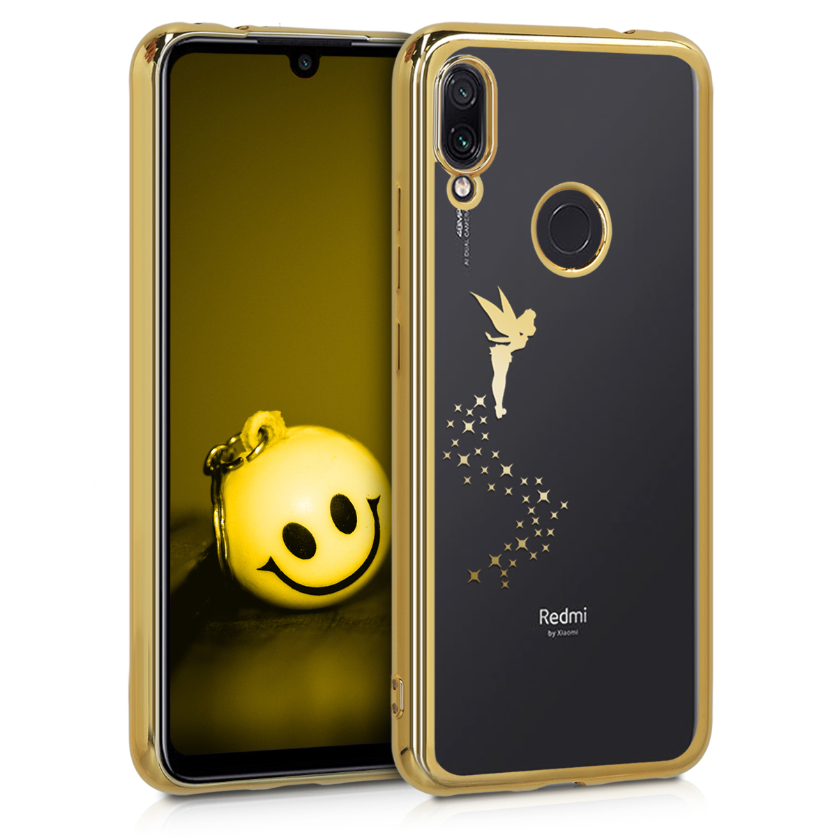 KW Θήκη Σιλικόνης Xiaomi Redmi Note 7 / Note 7 Pro - Gold / Transparent (49535.02)