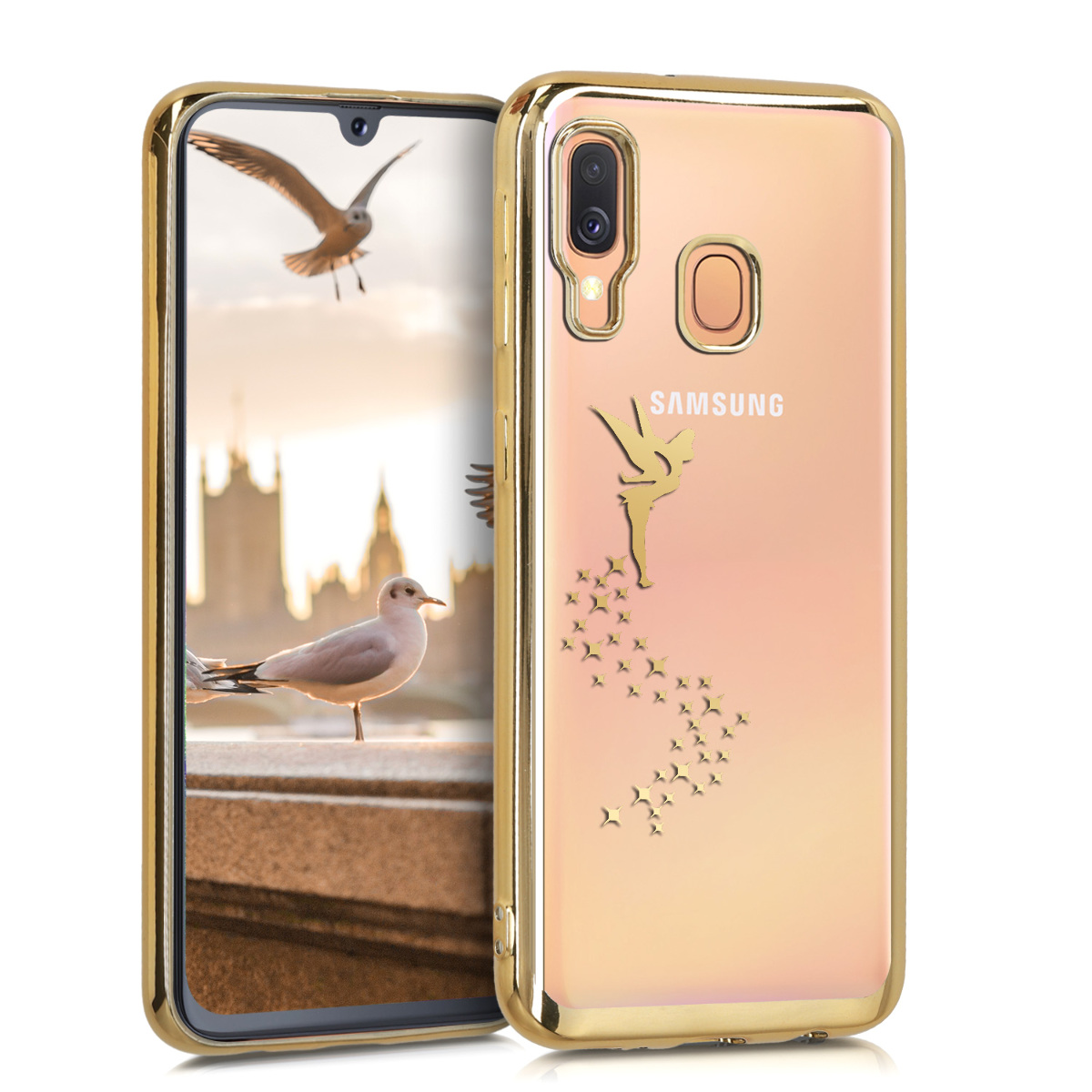 KW Θήκη Σιλικόνης Samsung Galaxy A40 - Gold / Transparent (49539.01)