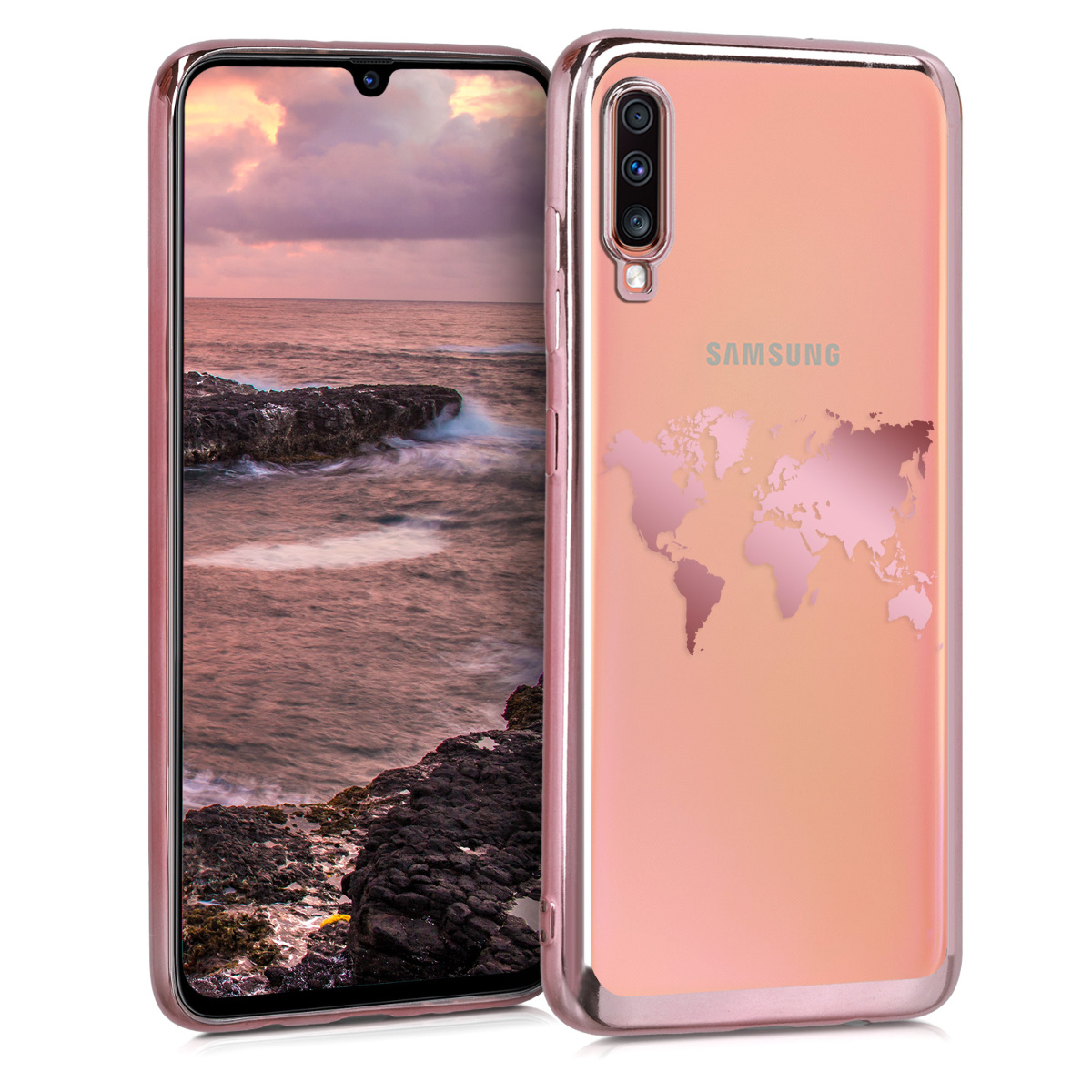 KW Θήκη Σιλικόνης Samsung Galaxy A70 - Travel Outline Rose Gold / Transparent / Rose Gold (49540.03)