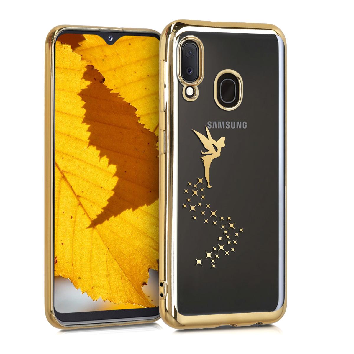KW Θήκη Σιλικόνης Samsung Galaxy A20e - Gold / Transparent (49541.01)