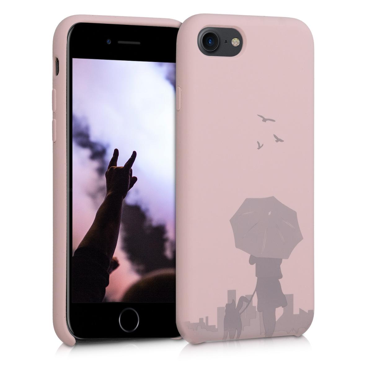 KW Θήκη Σιλικόνης Apple iPhone 7 / 8 - Laser Engraved Umbrella Dusty Pink (49557.05)