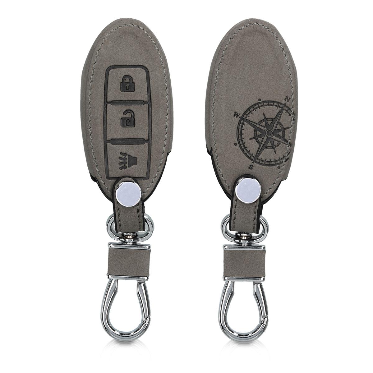 KW PU Leather Θήκη Κλειδιού Nissan - 3 Κουμπιά - Grey (49596.01)