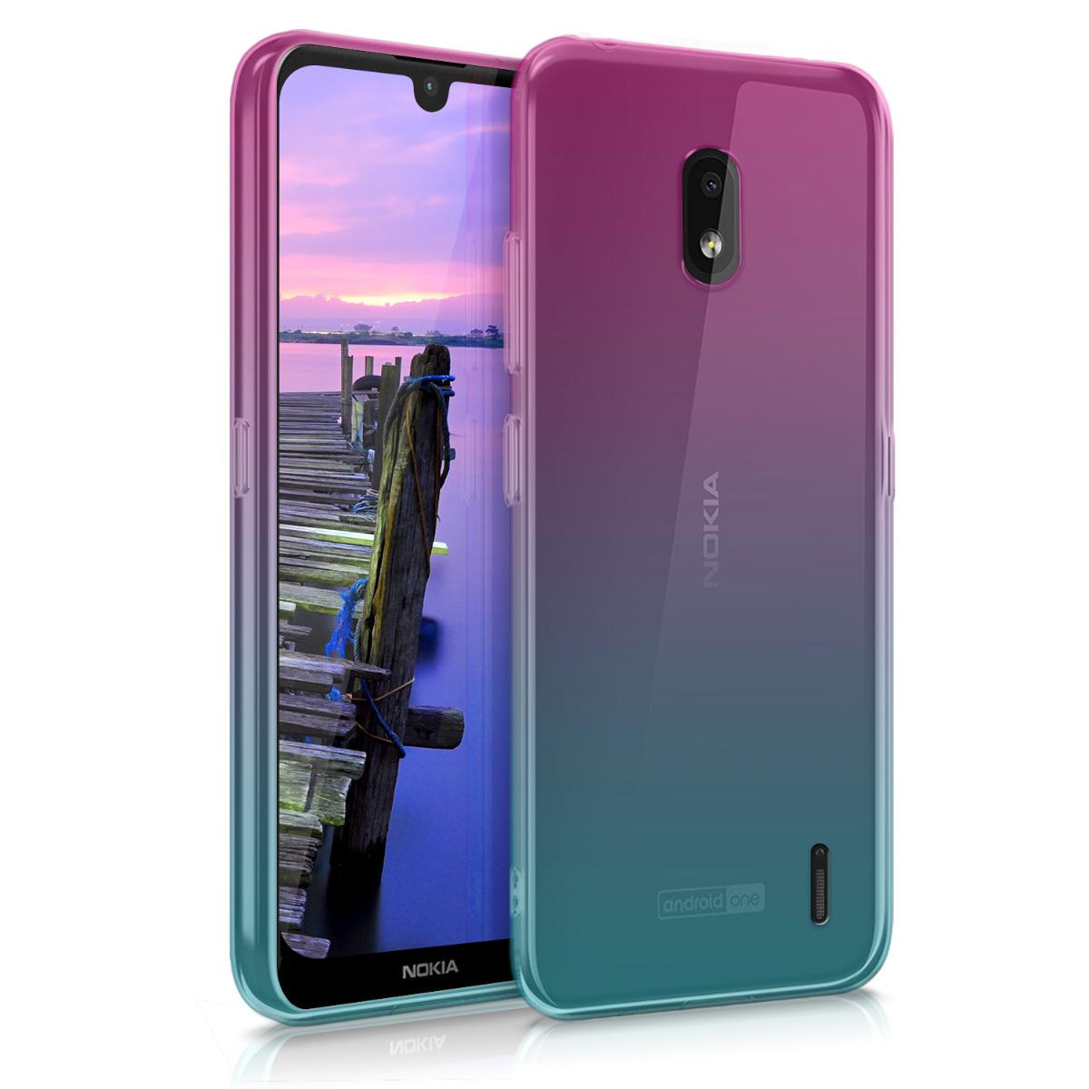 KW Θήκη Σιλικόνης Nokia 2.2 - Clear TPU Soft Phone Cover - Dark Pink / Blue / Transparent (49635.01)