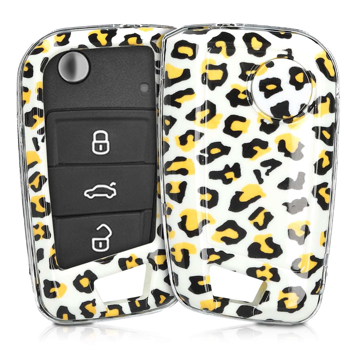KW Σκληρή Θήκη Κλειδιού VW Golf 7 MK7 - 3 Κουμπιά - Black / Yellow / White (49668.02)