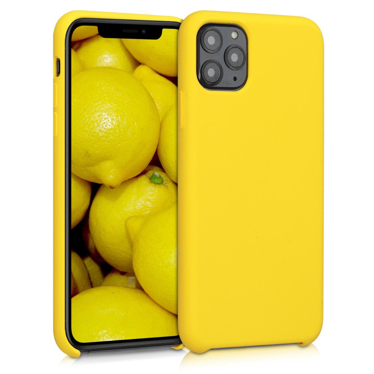 KW Θήκη Σιλικόνης Apple iPhone 11 Pro Max - Soft Flexible Rubber - Vibrant Yellow (49725.165)