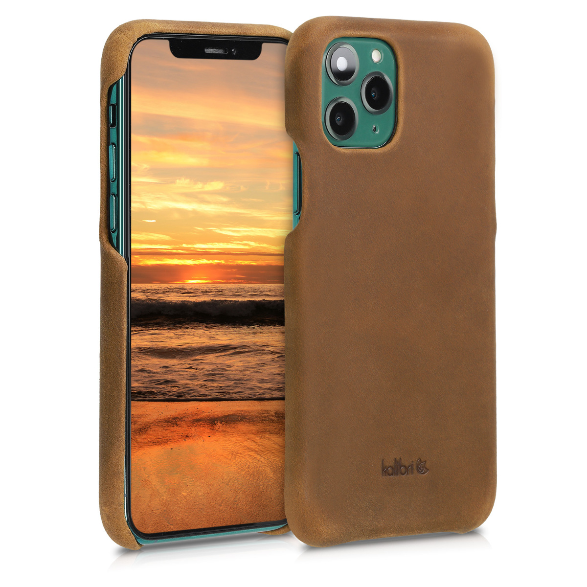 Kalibri Σκληρή Δερμάτινη Θήκη iPhone 11 Pro - Smooth Genuine Leather Hard Case - Light Brown (49736.24)