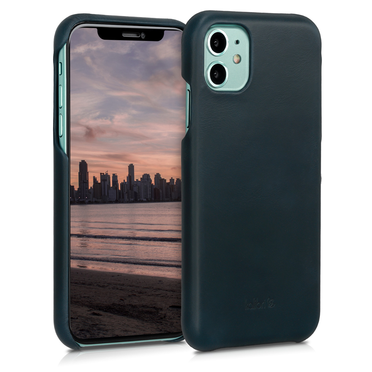 Kalibri Σκληρή Δερμάτινη Θήκη Apple iPhone 11 - Smooth Genuine Leather Hard Case - Dark Blue (49737.17)