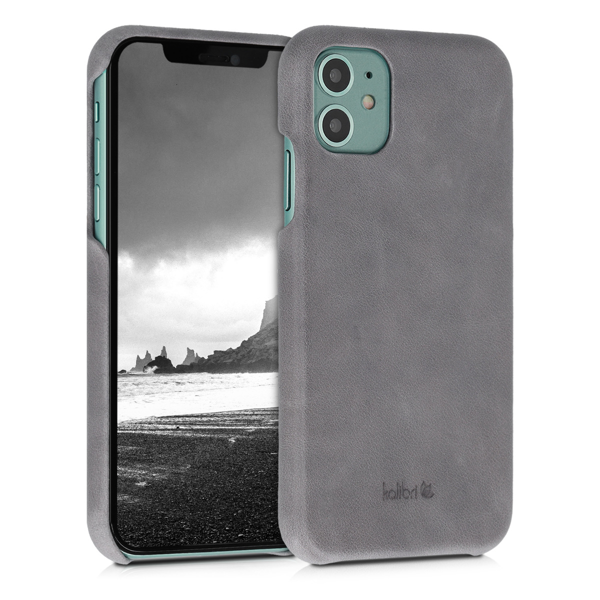 Kalibri Σκληρή Δερμάτινη Θήκη iPhone 11 - Smooth Genuine Leather Hard Case - Dark Grey (49737.19)