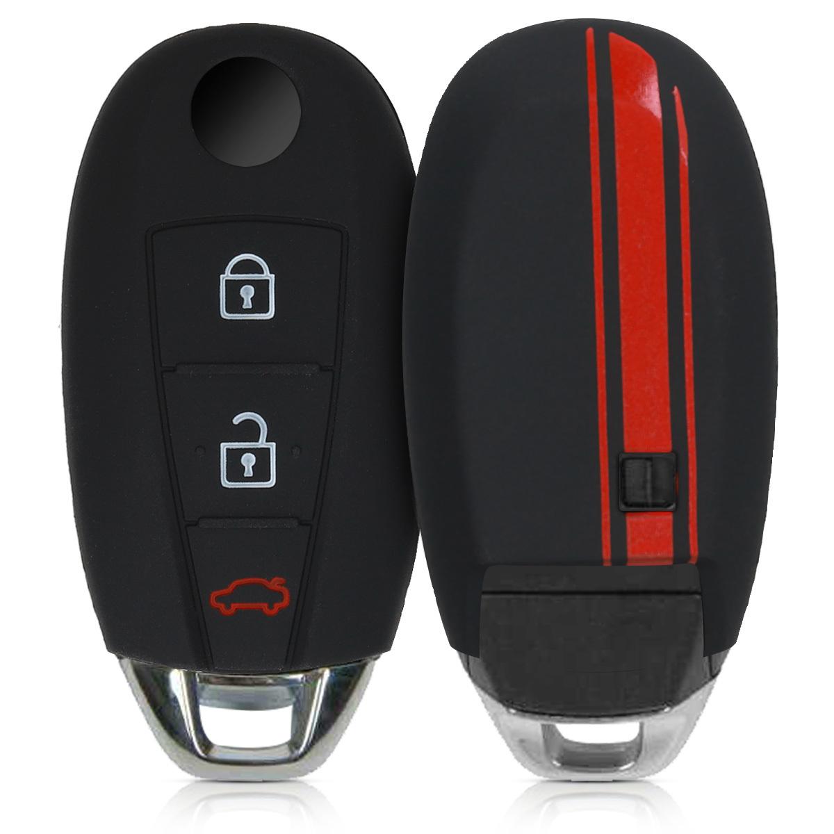 KW Θήκη Κλειδιού Suzuki -Σιλικόνη - 3 Κουμπιά - Keyless Go - Red / Black (49770.02)