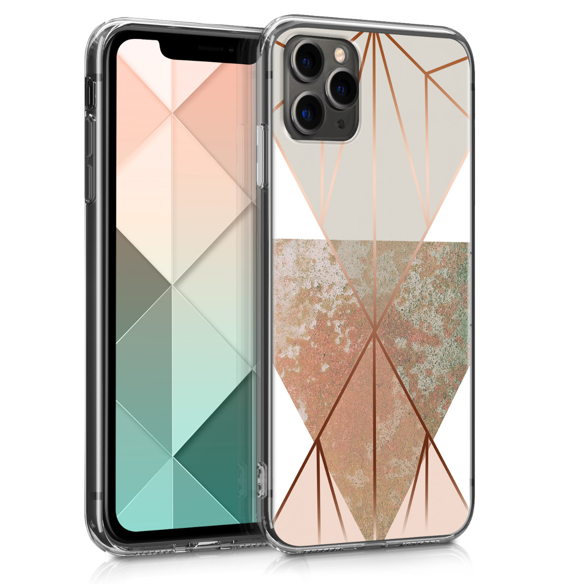 KW Θήκη Σιλικόνης Apple iPhone 11 Pro Max - Crystal Clear - Beige / Rose Gold / White (49786.04)