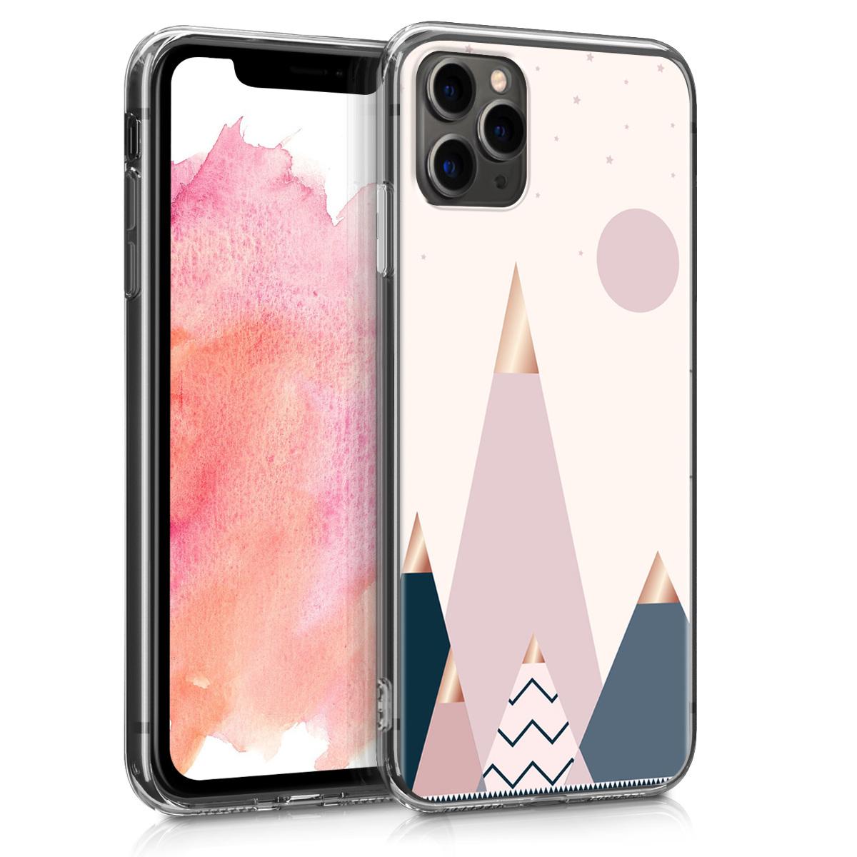 KW Θήκη Σιλικόνης Apple iPhone 11 Pro Max - Rose Gold / Blue / Light Pink (49786.05)