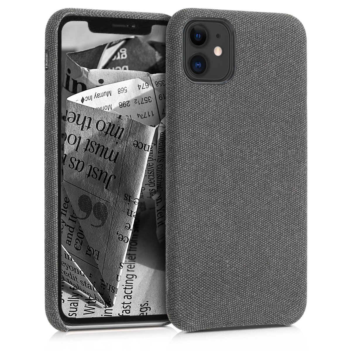KW Σκληρή Θήκη Canvas Apple iPhone 11 - Grey (49805.22)