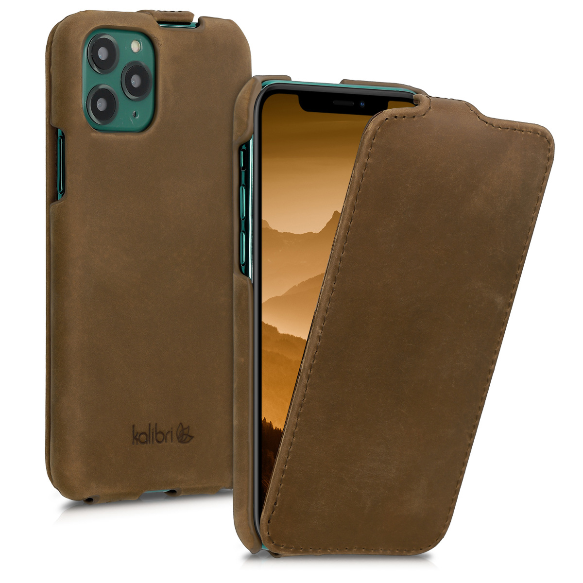 Kalibri Δερμάτινη Θήκη Flip Apple iPhone 11 Pro - Ultra Slim Leather Protective Phone Cover - Brown (49807.05)