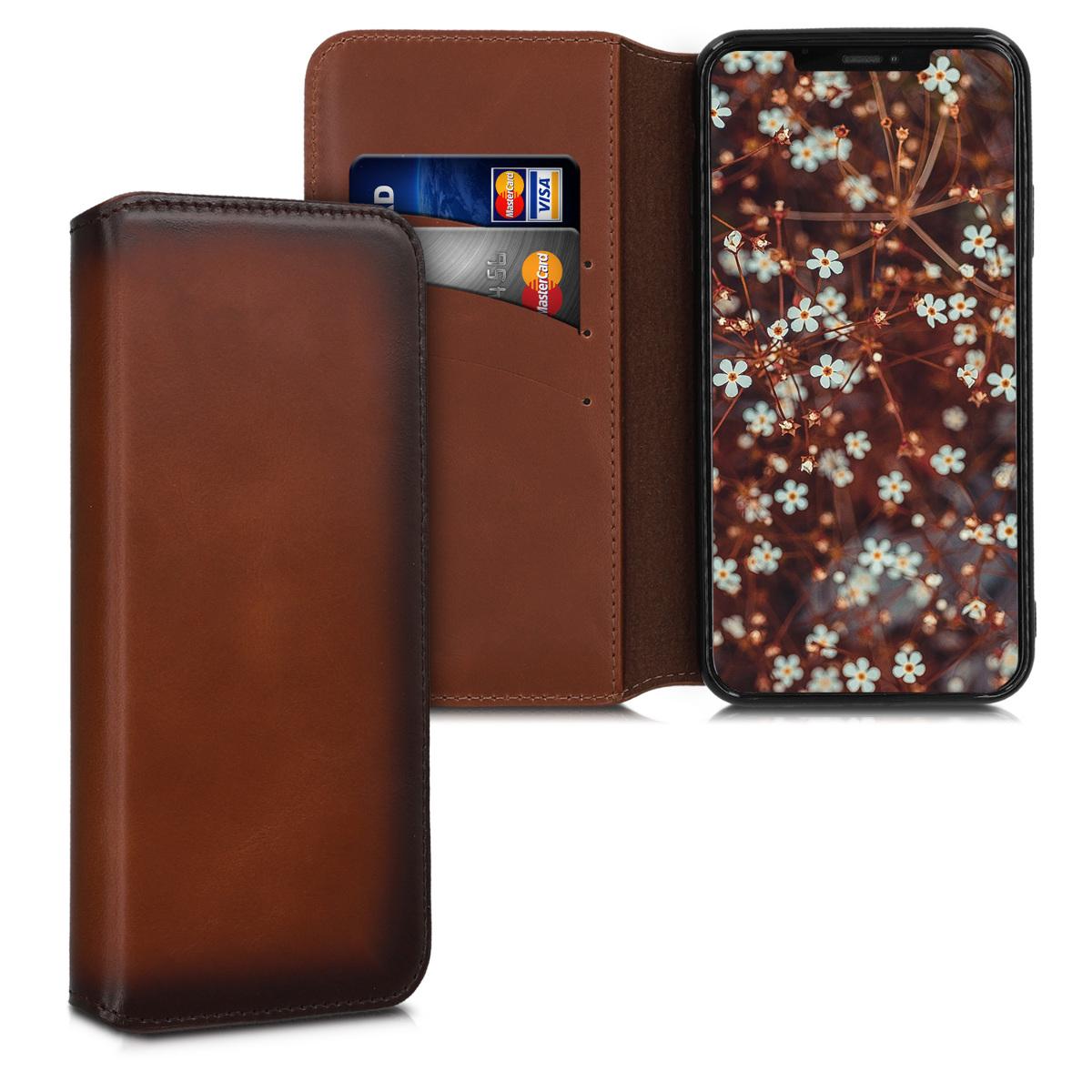 Kalibri Δερμάτινη Θήκη - Πορτοφόλι iPhone 11 Pro Max - Vintage Brown (49809.133)