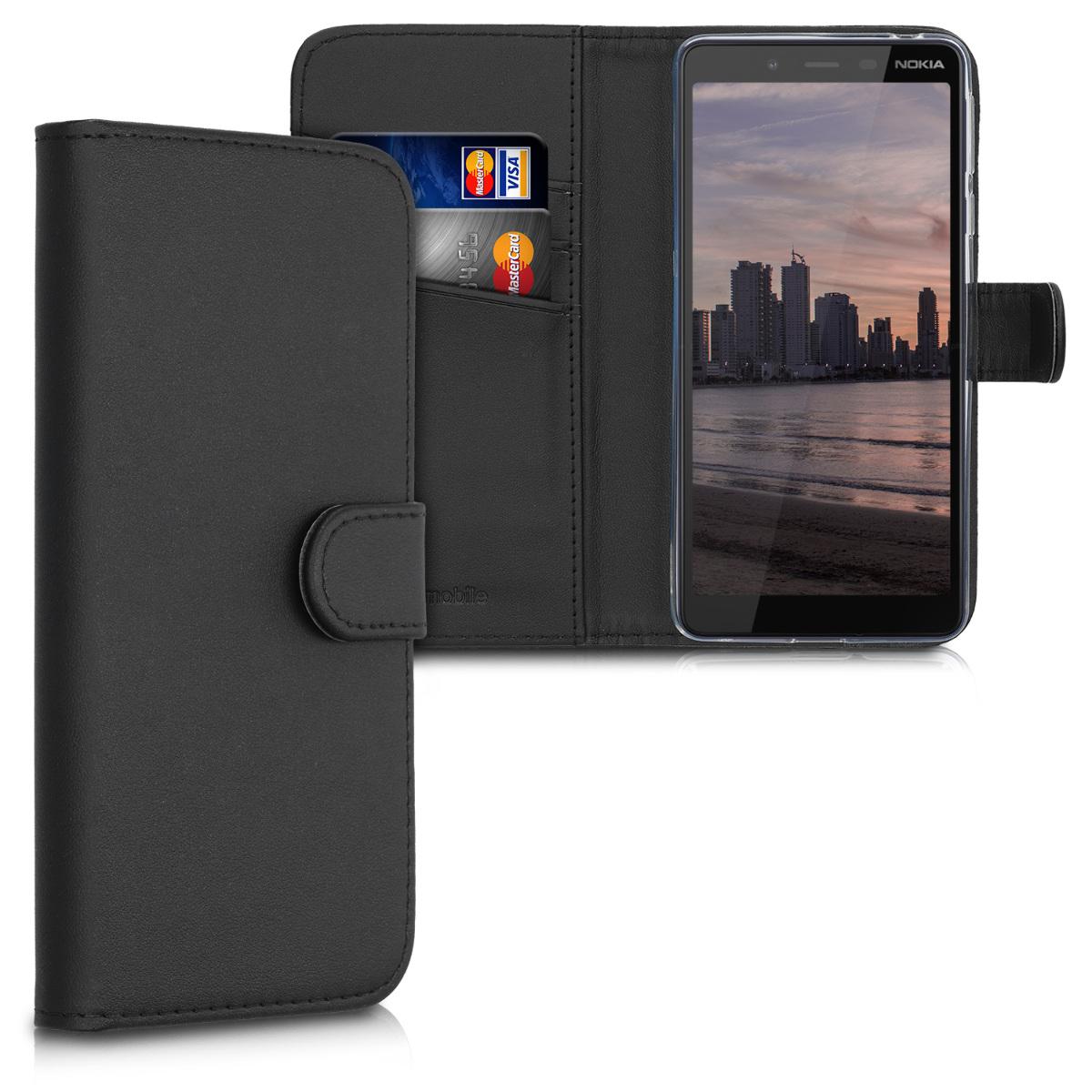 KW Θήκη - Πορτοφόλι Nokia 1 Plus - Protective PU Leather Flip Cover - Black (49890.01)