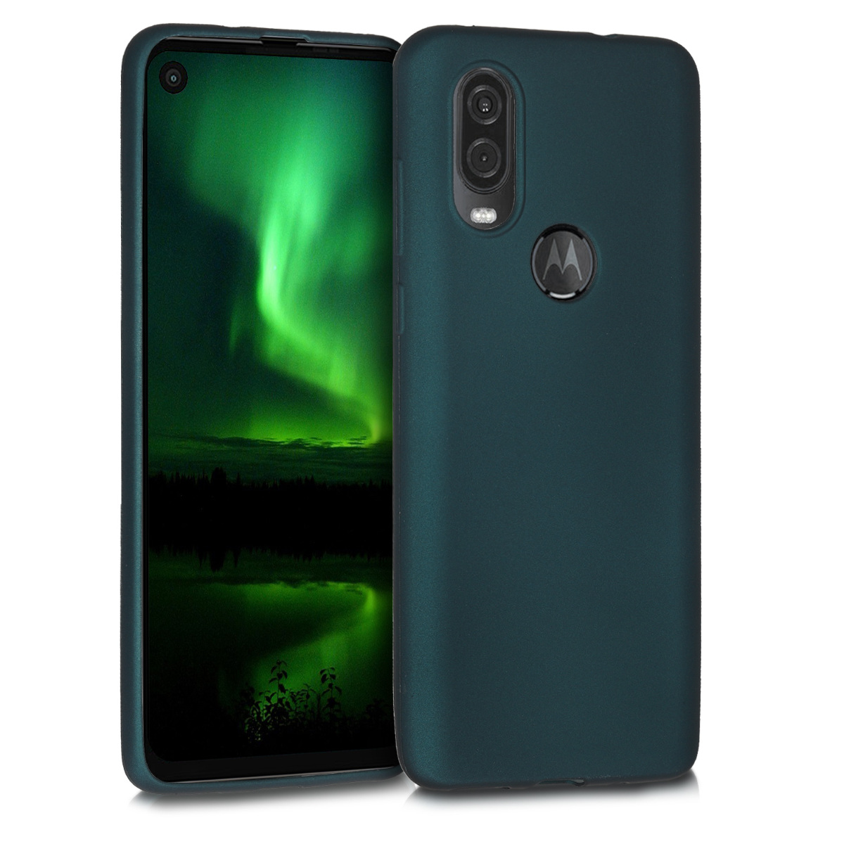 KW Θήκη Σιλικόνης Motorola One Vision - Metallic Teal (49914.14)