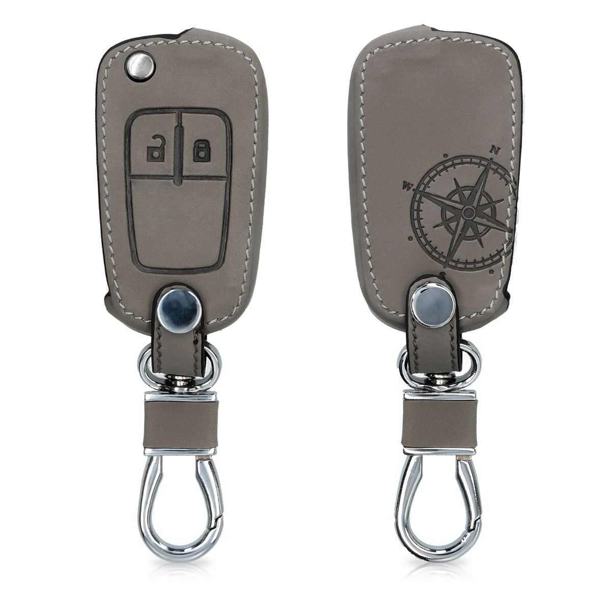 KW Θήκη Κλειδιού Opel / Chevrolet - Συνθετικό Δέρμα - 2 Κουμπιά - Grey (49939.01)