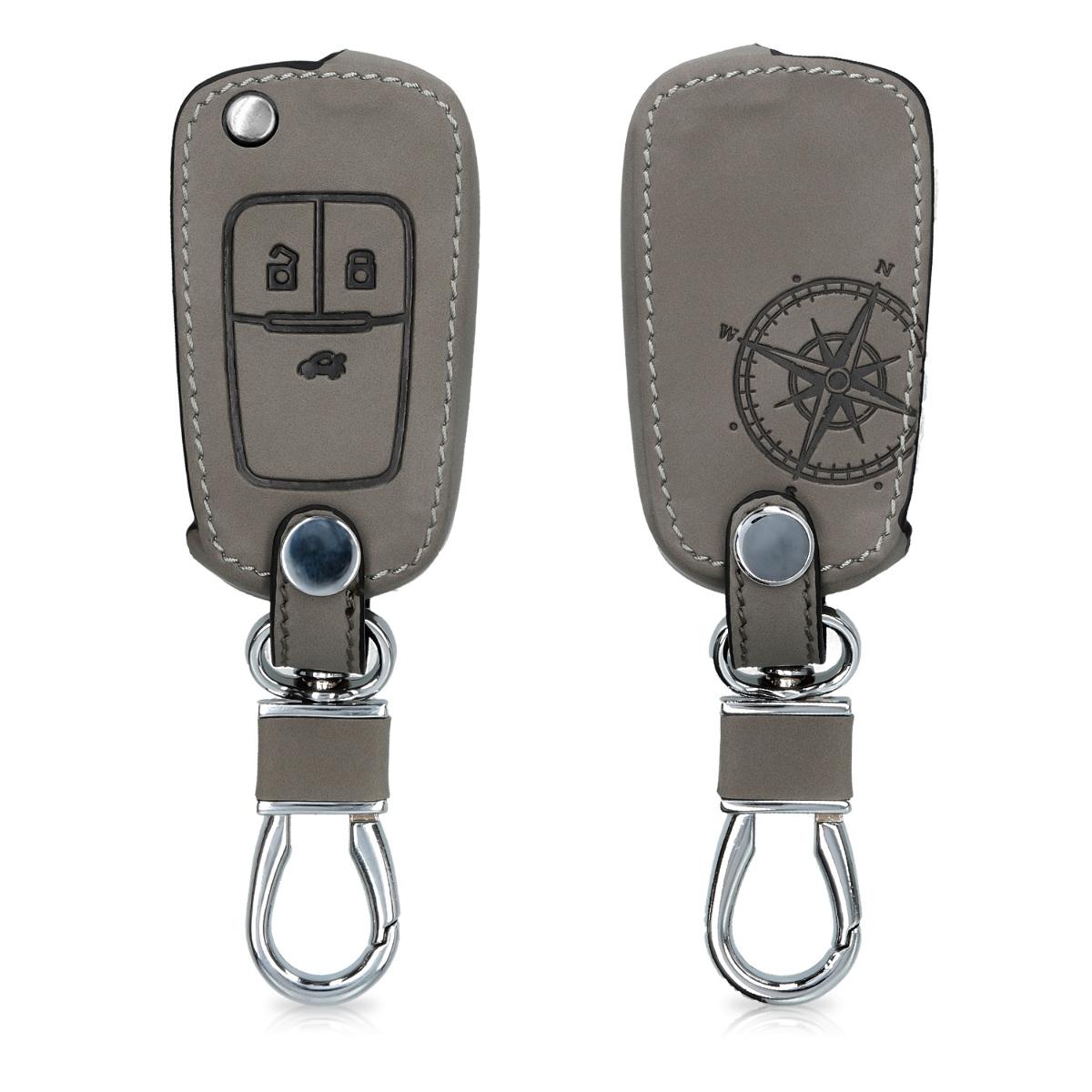 KW Θήκη Κλειδιού Opel / Chevrolet - Συνθετικό Δέρμα - 3 Κουμπιά - Grey (49942.01)