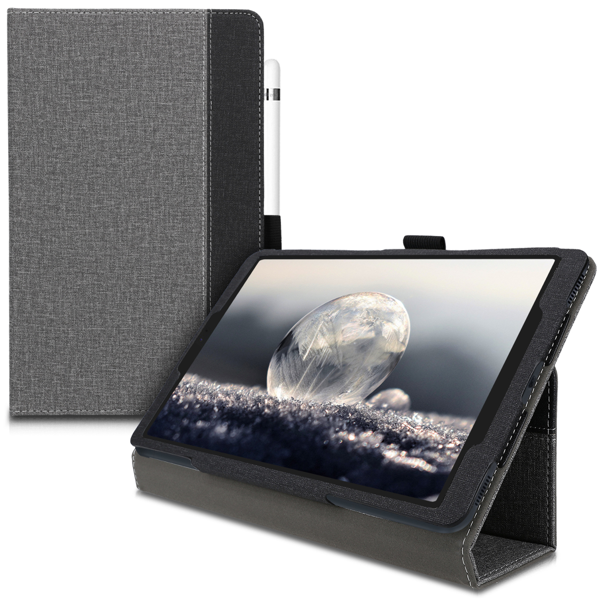 KW Θήκη Samsung Galaxy Tab A 10.1 2019 - PU Leather and Canvas Stand Cover with Stylus Holder - Grey / Black (49944.01)