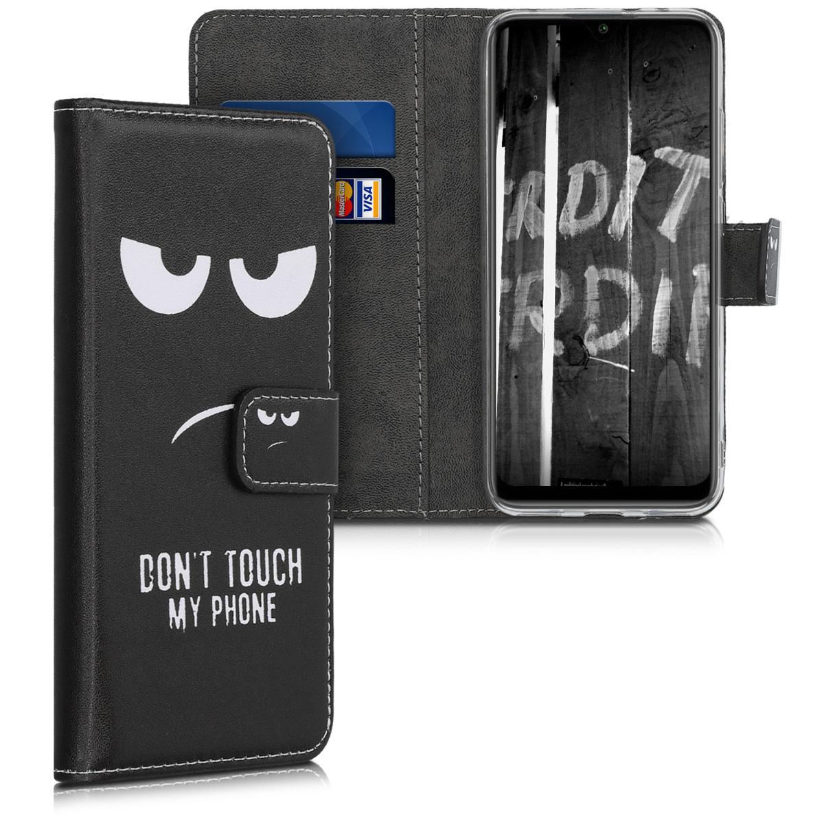 KW Θήκη - Πορτοφόλι Xiaomi Mi A3 - PU Leather Protective Flip Cover - White / Black (50049.01)