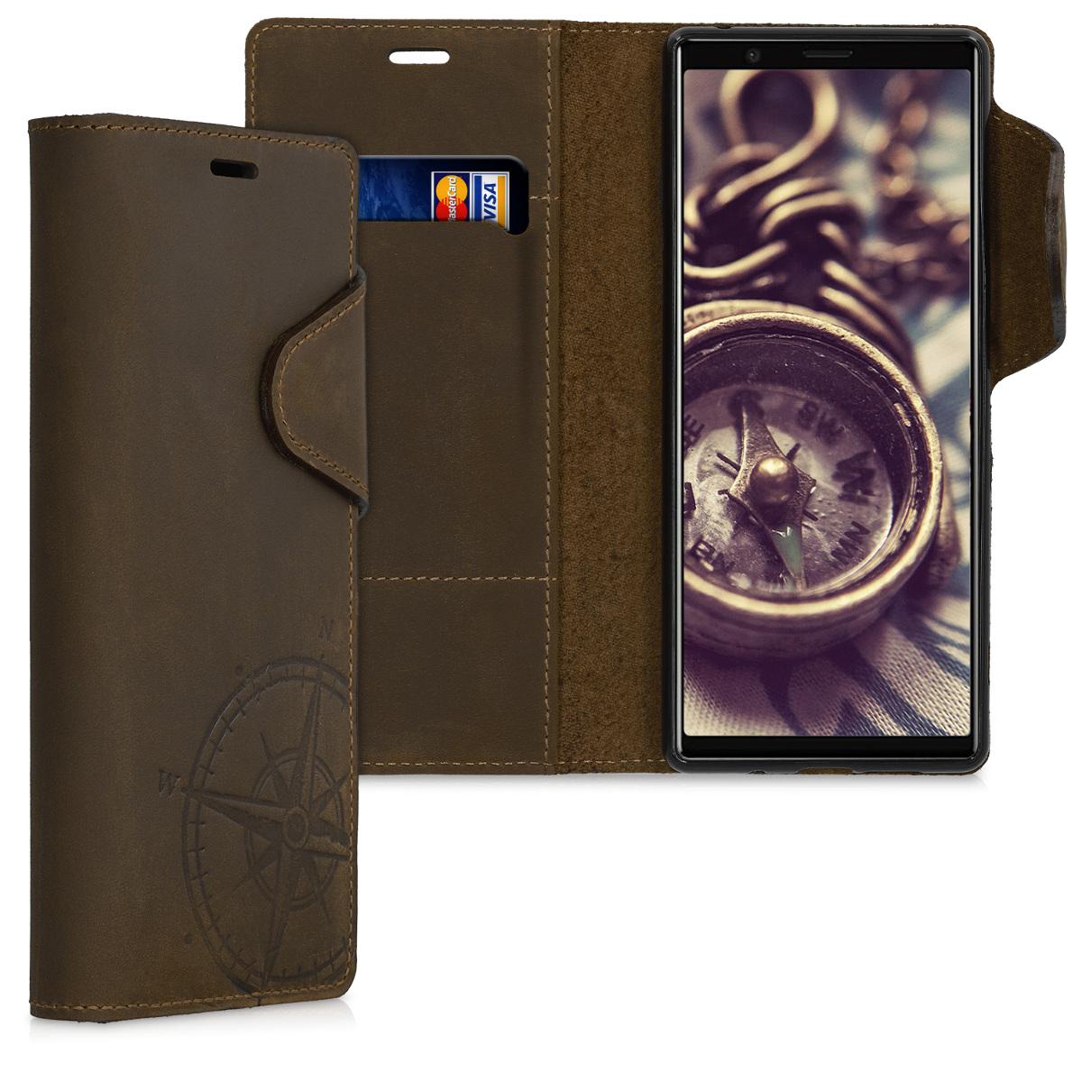 Kalibri Δερμάτινη Suede Θήκη - Πορτοφόλι Sony Xperia 5 - Brown (50118.01)
