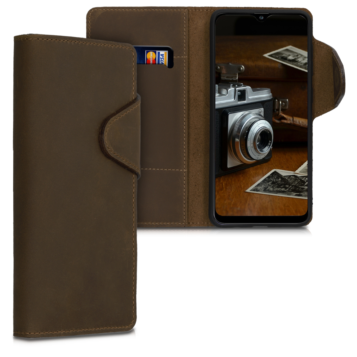 Kalibri Δερμάτινη Suede Θήκη - Πορτοφόλι Samsung Galaxy A30s - Brown (50201.05)