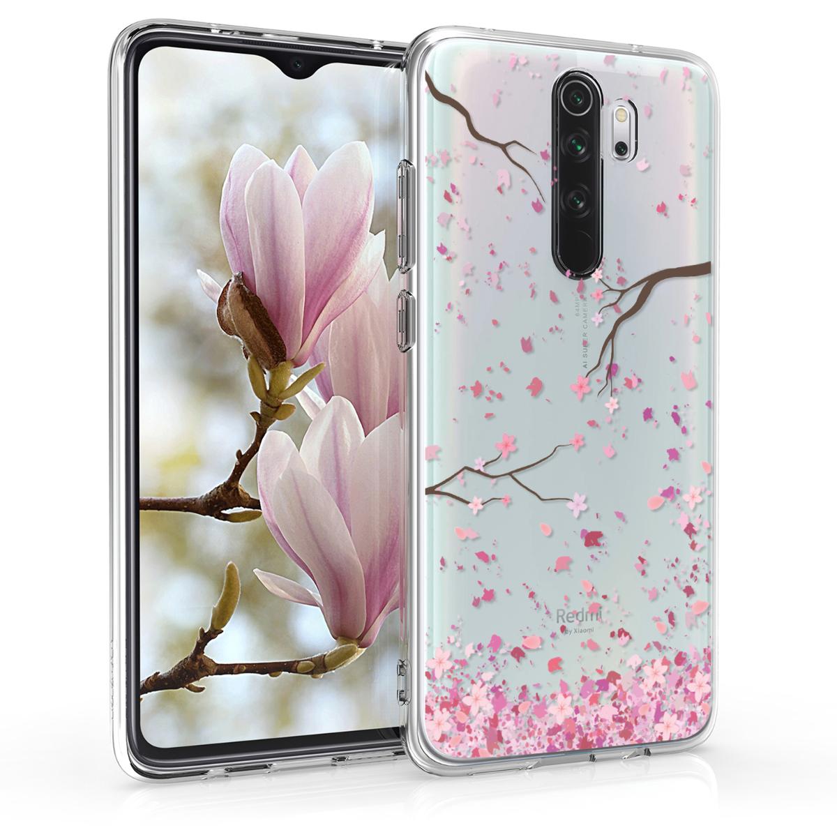 KW Θήκη Σιλικόνης Xiaomi Redmi Note 8 Pro - Cherry Blossoms - Light Pink / Dark Brown / Transparent (50244.05)