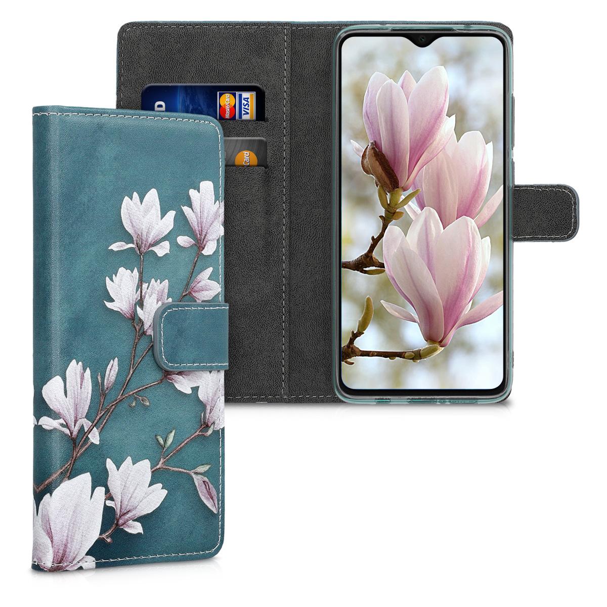 KW Θήκη - Πορτοφόλι Xiaomi Redmi Note 8 Pro - Magnolias - Taupe / White / Blue Grey (50253.02)