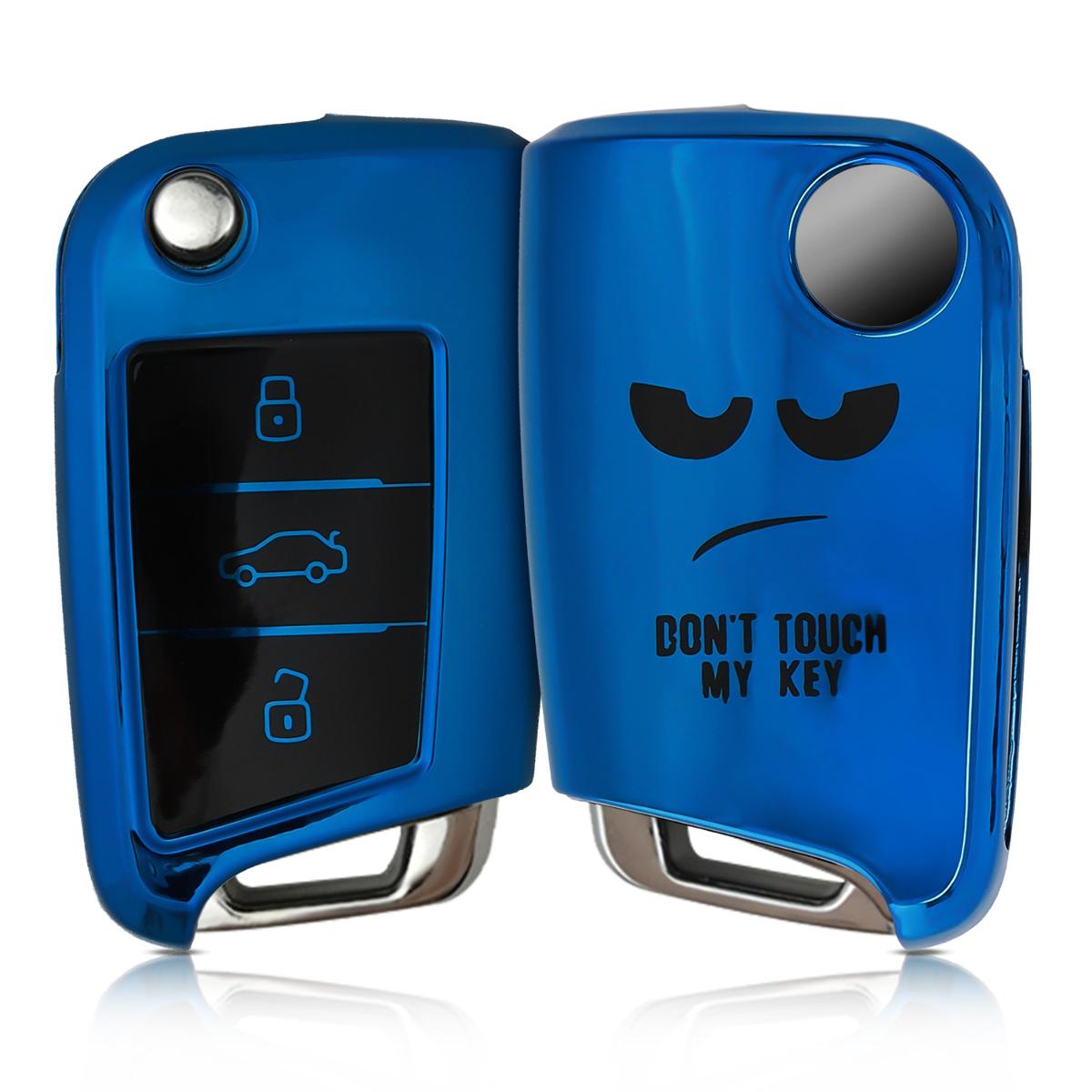 KW Θήκη Κλειδιού VW Golf 7 MK7 - Σιλικόνη - 3 Κουμπιά - Don't Touch My Key - Black / Blue High Gloss (50279.05)