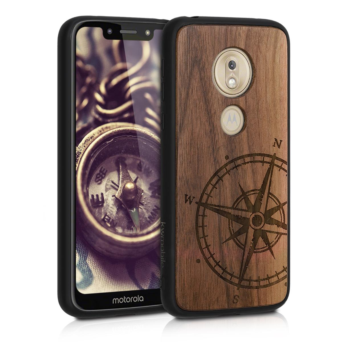 KW Σκληρή Ξύλινη Θήκη με TPU Bumper Motorola Moto G7 Play - Navigational Compass (50324.02)
