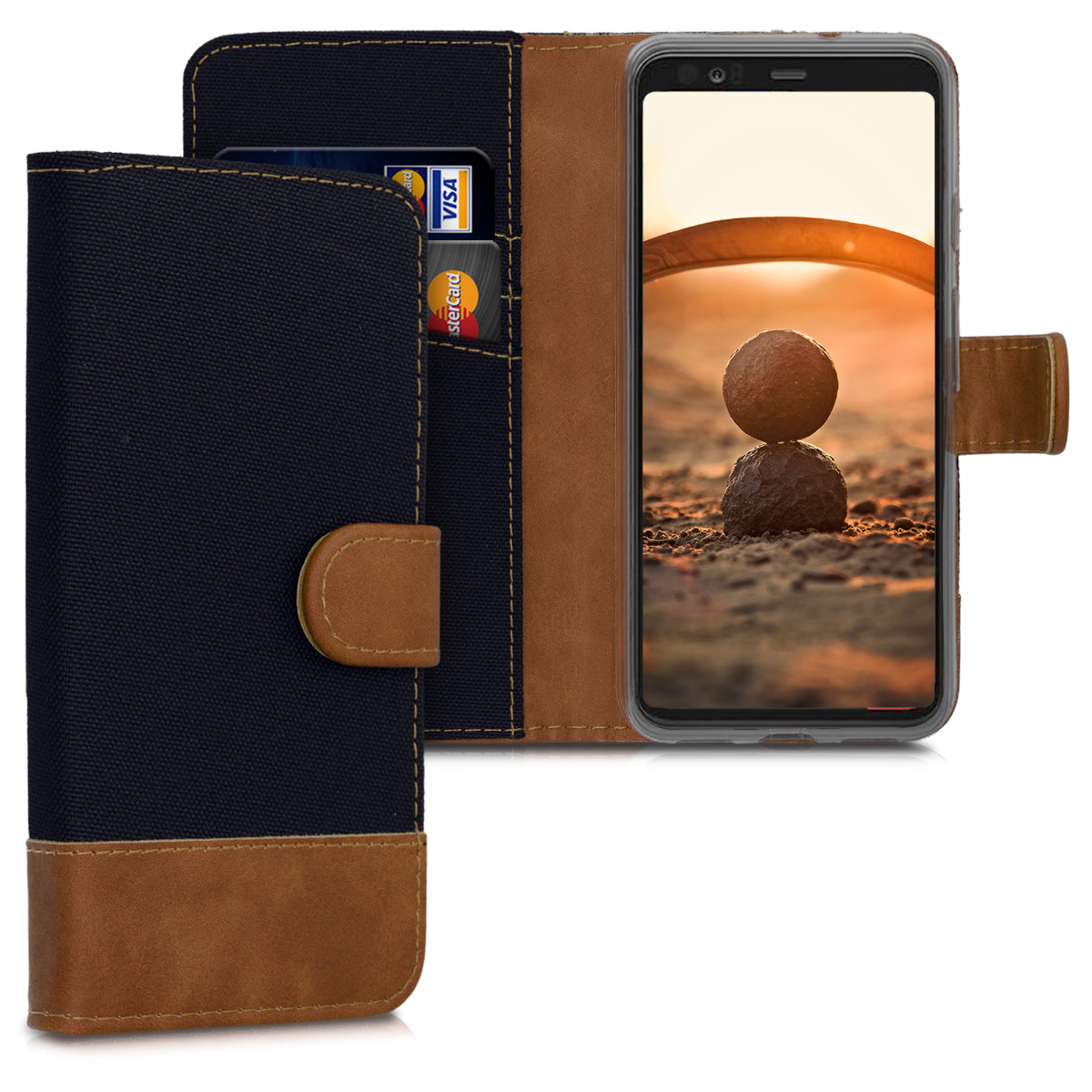 KW Θήκη - Πορτοφόλι Google Pixel 4 - Fabric and PU Leather Flip Cover - Black / Brown (50375.01)