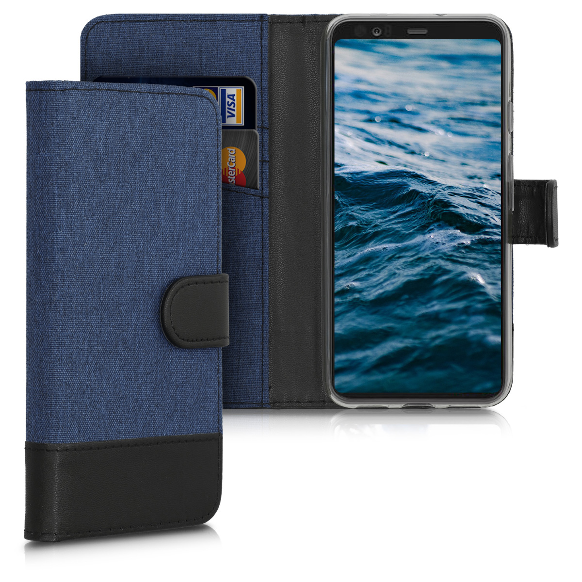 KW Θήκη - Πορτοφόλι Google Pixel 4 - Fabric and PU Leather Flip Cover - Dark Blue / Black (50375.17)