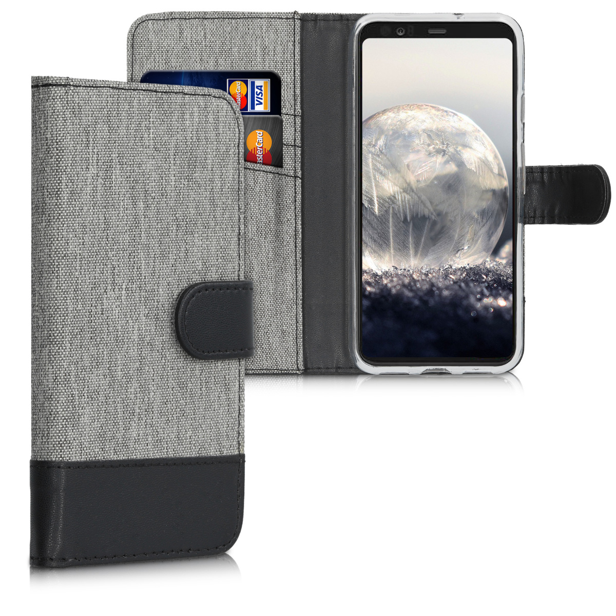KW Θήκη Πορτοφόλι Google Pixel 4 - Grey / Black (50375.22)