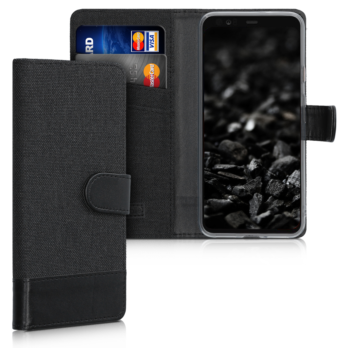 KW Θήκη - Πορτοφόλι Google Pixel 4 XL - Fabric and PU Leather Flip Cover - Anthracite / Black (50376.73)
