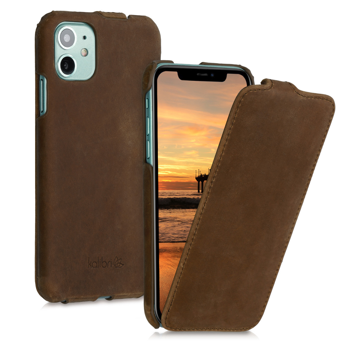 Kalibri Δερμάτινη Θήκη Flip Apple iPhone 11 - Ultra Slim Leather Protective Phone Cover - Brown (50410.05)