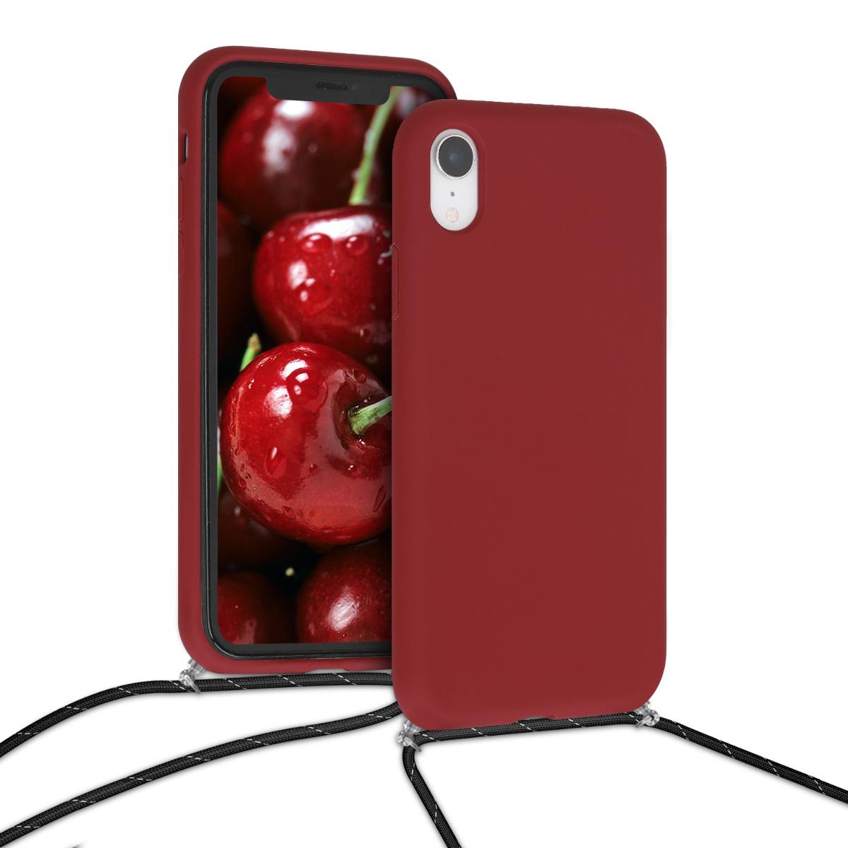 KW Θήκη Σιλικόνης με Λουράκι Λαιμού Apple iPhone XR - Dark Red (50418.20)
