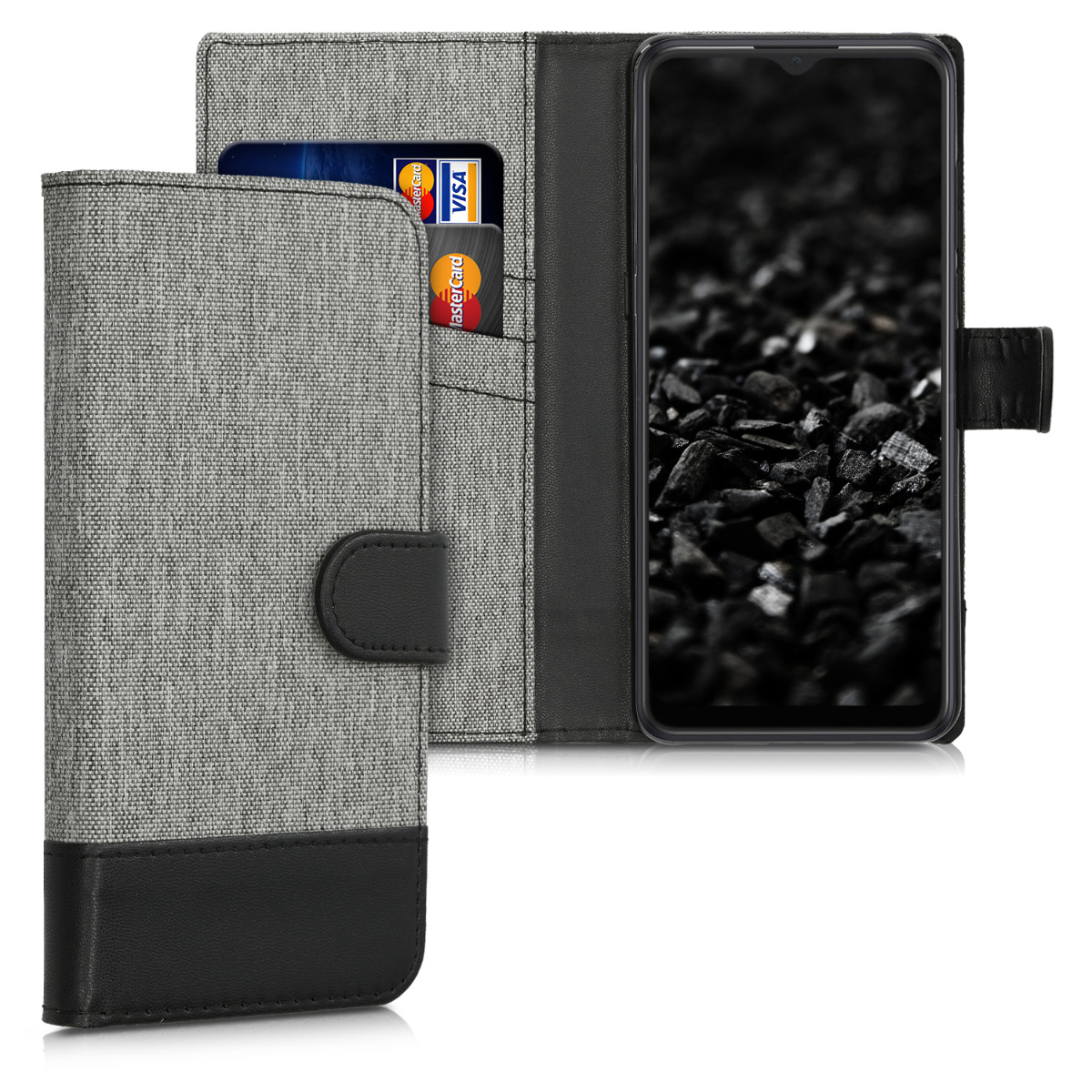 KW Θήκη - Πορτοφόλι Alcatel 3X (2019) - Fabric and PU Leather Flip Cover - Grey / Black (50473.22)