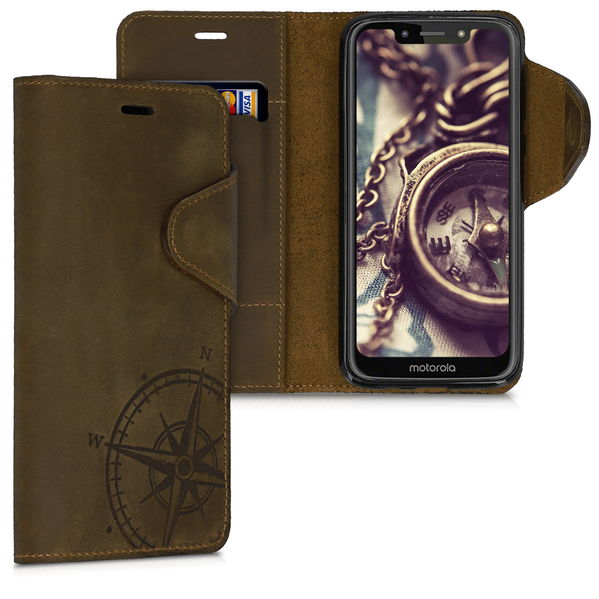 Kalibri Δερμάτινη Suede Θήκη - Πορτοφόλι Motorola Moto G7 Play - Brown (50601.01)