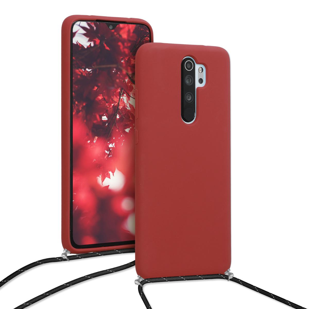 KW Θήκη Σιλικόνης με Λουράκι Λαιμού Xiaomi Redmi Note 8 Pro - Dark Red / Black (50613.20)