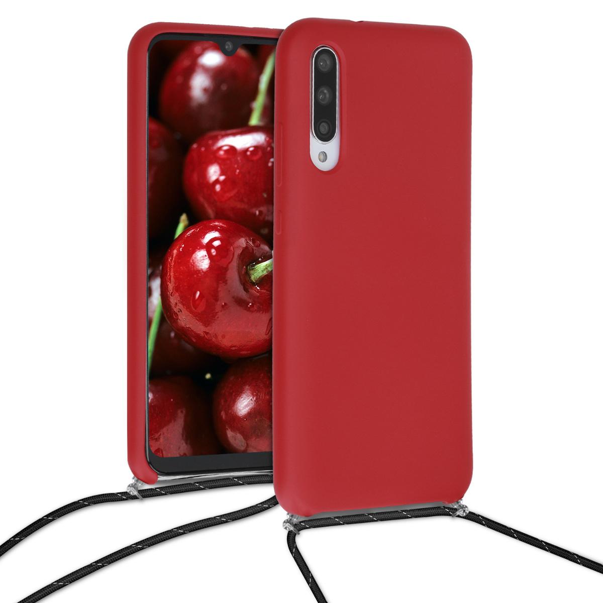 KW Θήκη Σιλικόνης με Λουράκι Λαιμού Xiaomi Mi A3 - Dark Red / Black (50614.20)