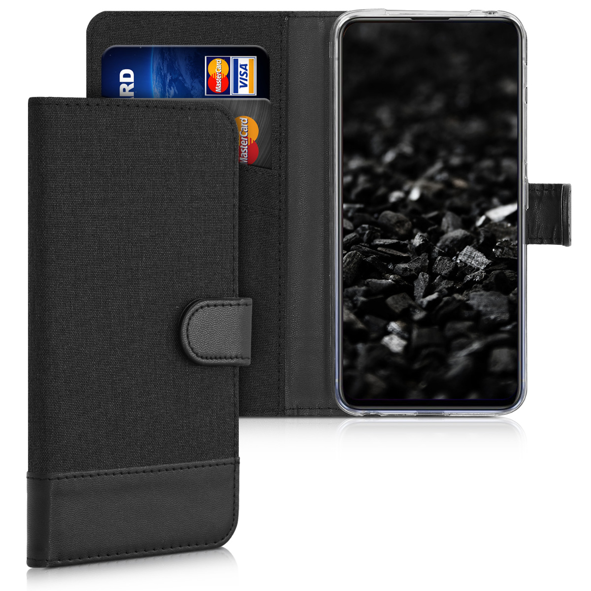 KW Θήκη - Πορτοφόλι Motorola One Macro - Fabric and PU Leather Flip Cover - Anthracite / Black (50672.01)
