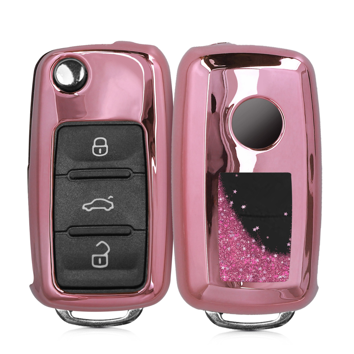 KW Θήκη Κλειδιού VW / Skoda / Seat - Σιλικόνη - 3 Κουμπιά - Stars Snow Globe - Dark Pink / Metallic Pink (50722.03)
