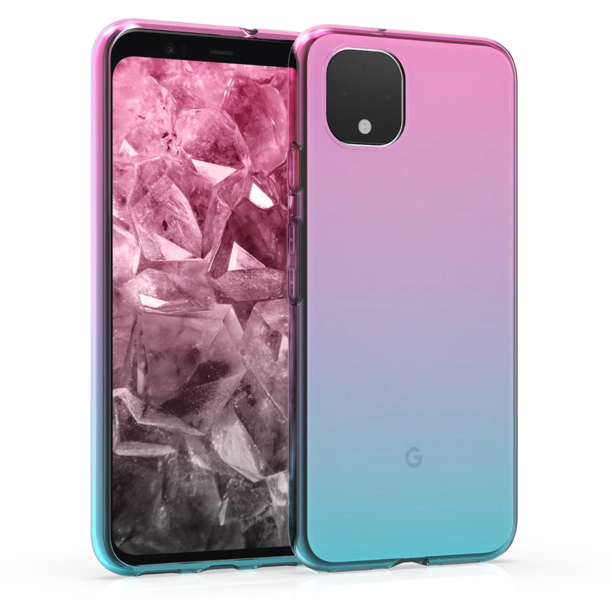 KW Θήκη Σιλικόνης Google Pixel 4 - Dark Pink / Blue / Transparent (50757.01)