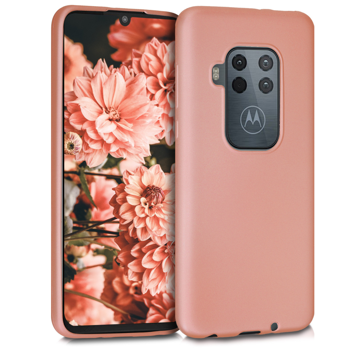KW Θήκη Σιλικόνης Motorola One Zoom - Metallic Rose Gold (50807.31)