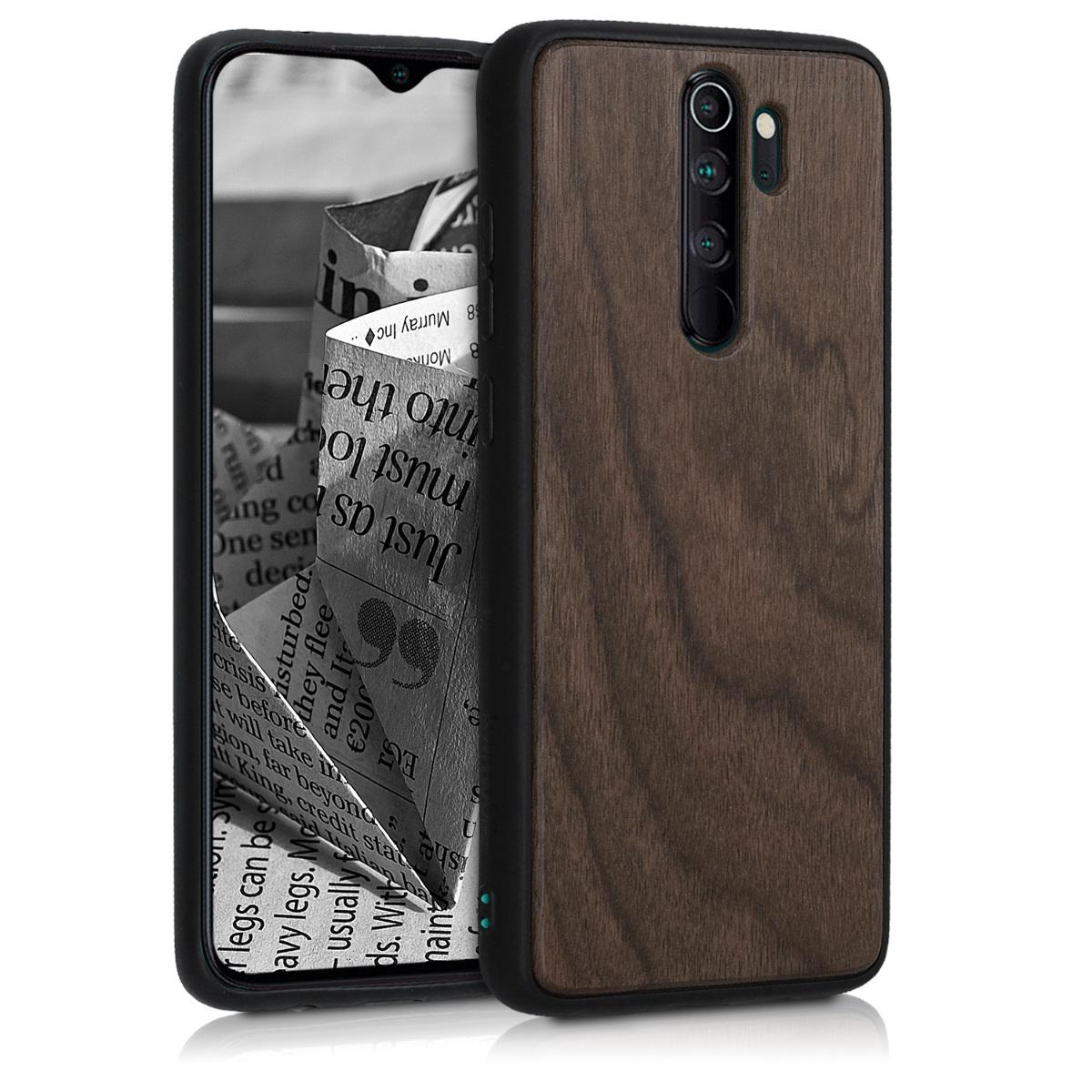 KW Σκληρή Ξύλινη Θήκη με TPU Bumper Xiaomi Redmi Note 8 Pro - Dark Brown (50838.18)