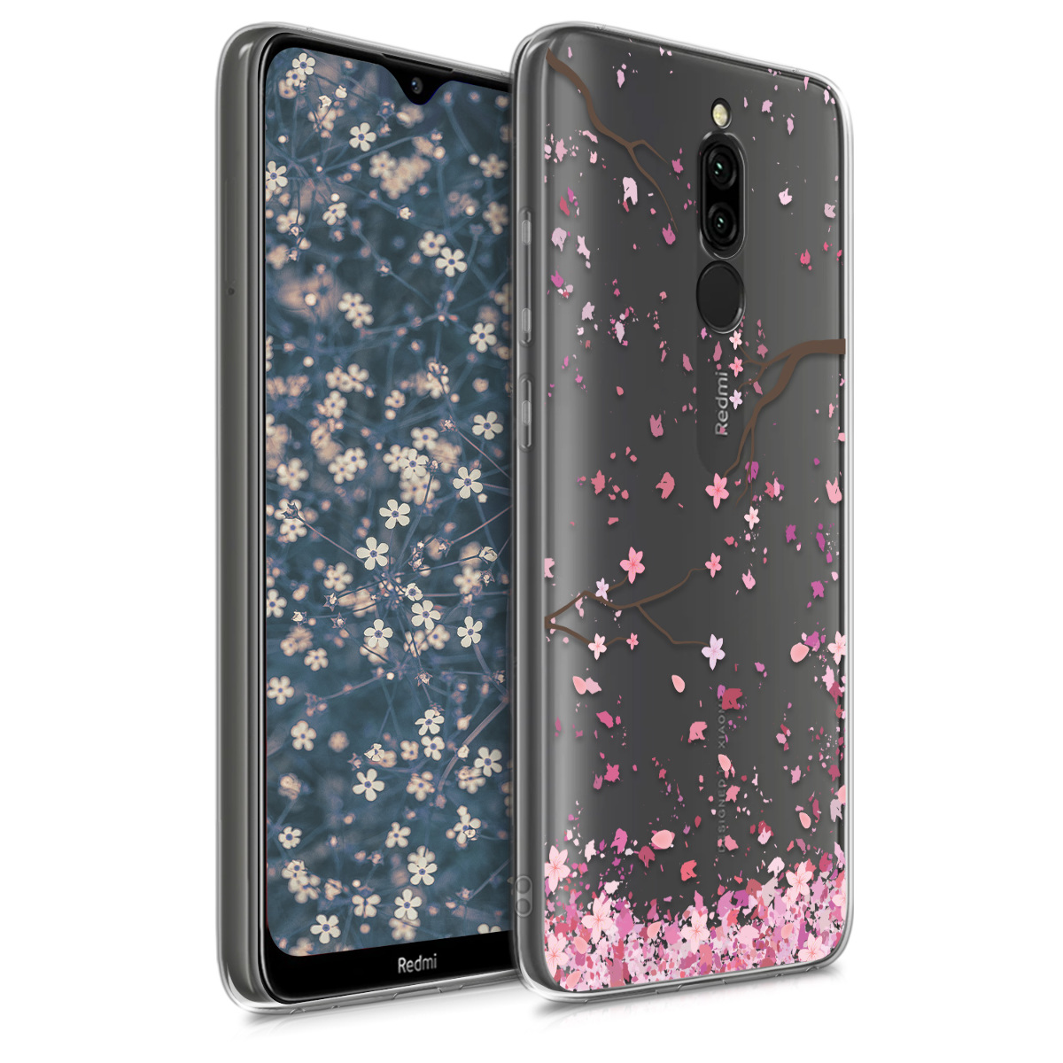 KW Θήκη Σιλικόνης Xiaomi Redmi 8 - Cherry Blossoms - Light Pink / Dark Brown / Transparent (50849.01)